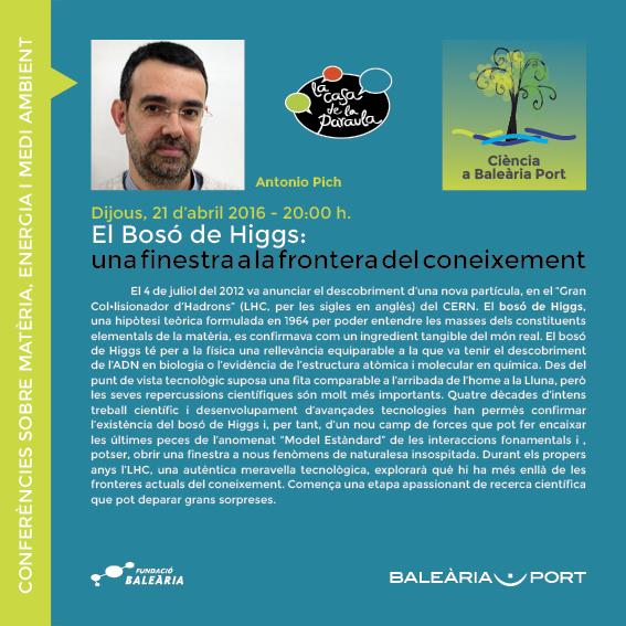 (Español) 'El Bosó de Higgs' continua el ciclo de conferencias sobre ciencia y medio ambiente
