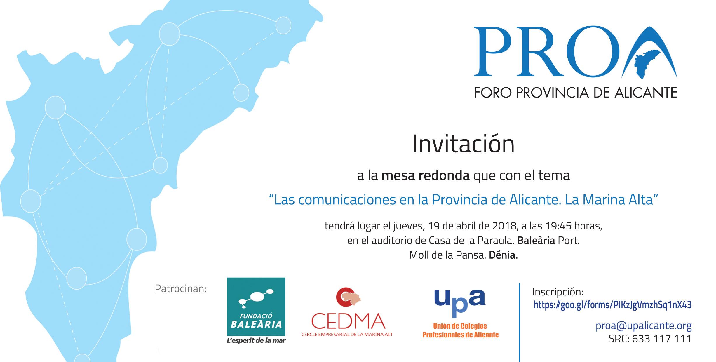 Mesa redonda: 'Las comunicaciones en la Provincia de Alicante'
